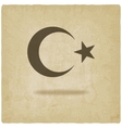 crescent moon and star old background vector image