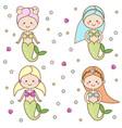 cute mermaids characters vector image