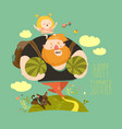 dad and his daughter are going to picnic vector image