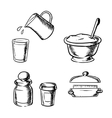 Dough butter milk flour and spices sketch vector image