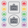 open icon sign symbol on the Round and square vector image