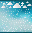 paper cut white clouds and rain drops on blue sky vector image