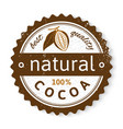 cocoa round stamp with type design vector image vector image