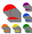 umbrella and sun lounger sign set of red orange vector image