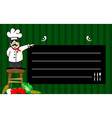 Chef with a blackboard for his recommendations vector image vector image
