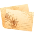 Vintage colors ornate isolated envelops vector image