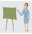 Business woman on the board shows vector image