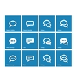 Speech bubble icons on blue background vector image