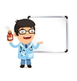Doctor With Pills in Front of the Whiteboard vector image