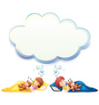 Boy and girl sleeping in bed vector image vector image