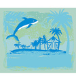 tropical vacation - Abstract card with a dolphin vector image
