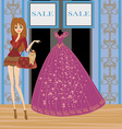 beautiful dress on a mannequin in elegant boutique vector image