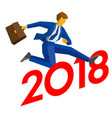 businessman jump over number 2018 vector image