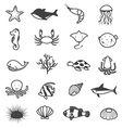 Cartoon Sea Creature Icons Collection vector image