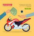 hand passing key process of buying motorbike vector image