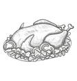 Monochrome sketch turkey on plate vector image