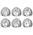 Doodle girl with different facial expressions vector image