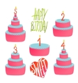 Happy Birthday Cakes Collection with Numbers and vector image
