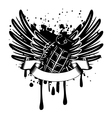 wings with grenade vector image vector image