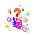 abstract hand holding question mark doodle design vector image