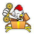 cartoon rooster character is in big box holding a vector image