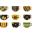 Collection of colorful cups vector image