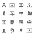 Hacker icons black vector image