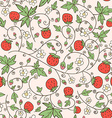 Seamless background with a strawberry and flowers vector image