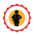 Silhouette pictogram emblem with student girl vector image