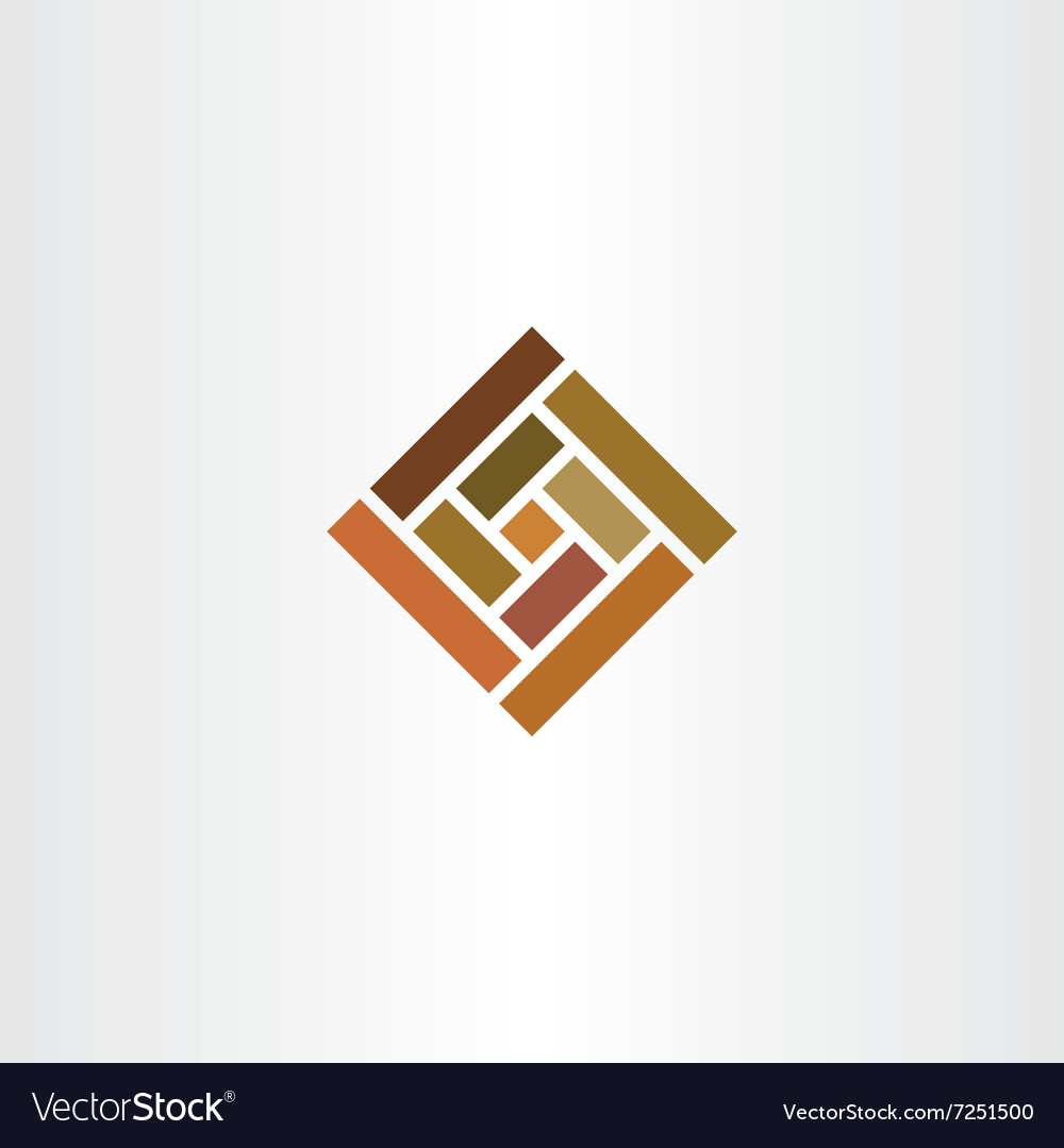 Brown wall tile square logo icon vector