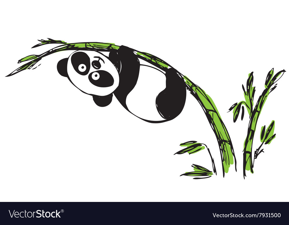 Little cute panda hanging on bamboo vector