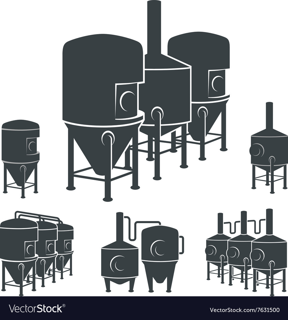Set  beer brewery elements icons logos vector