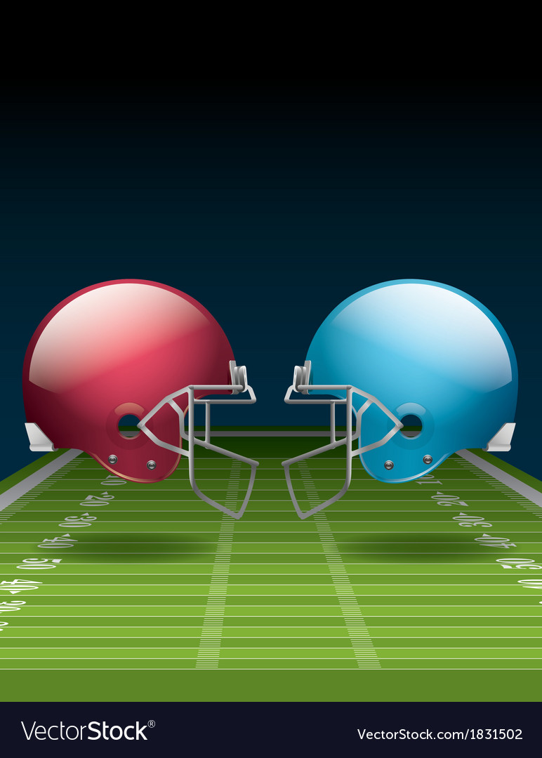 American football field and helmets vector