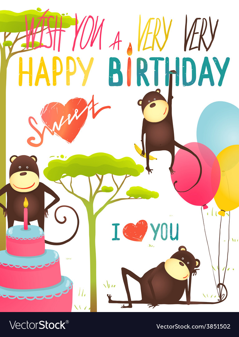 Monkey fun happy birthday card with lettering vector