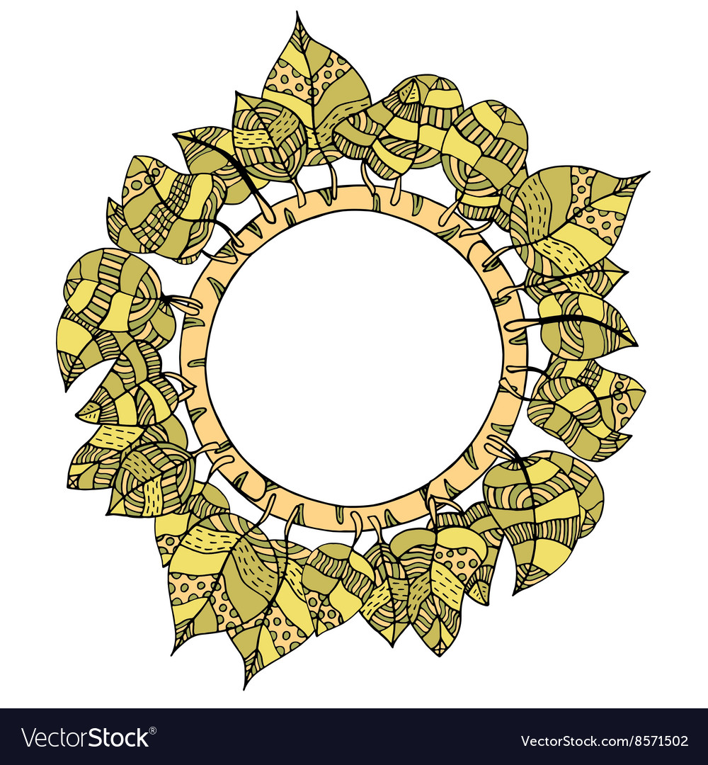 Round frame of leaves vector