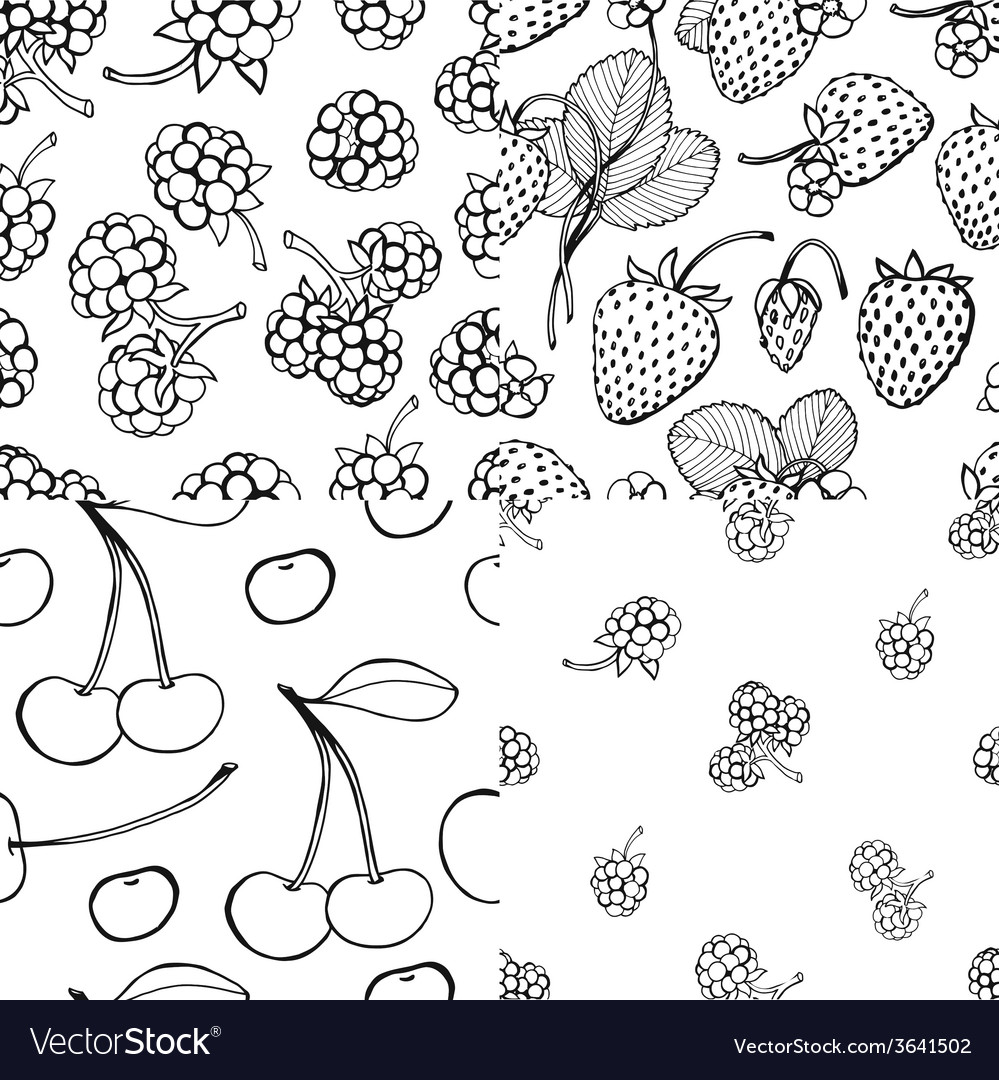 Seamless berry pattern set vector