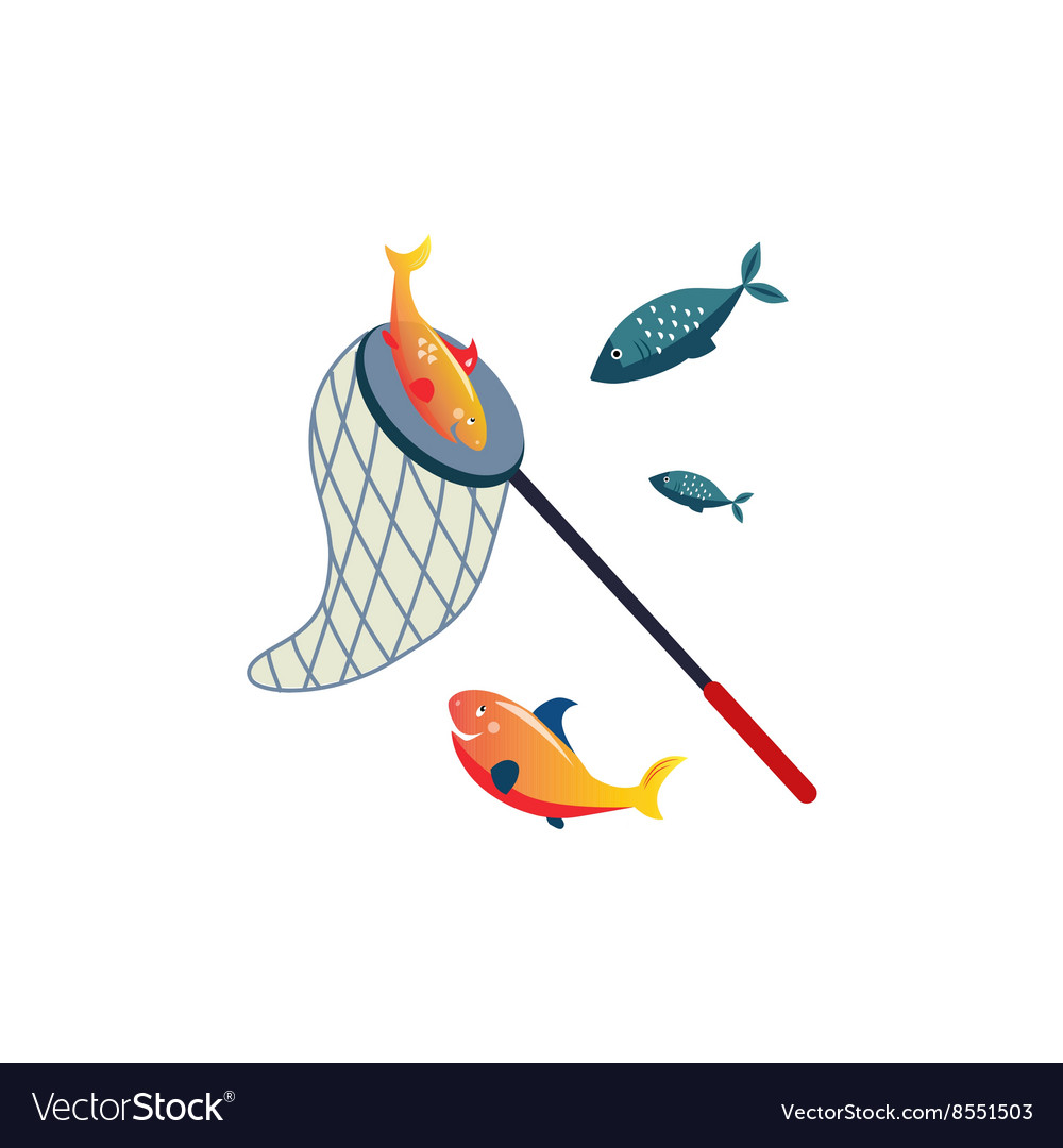 Fishing net on stick and fish vector