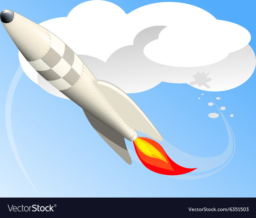 Flying rocket vector