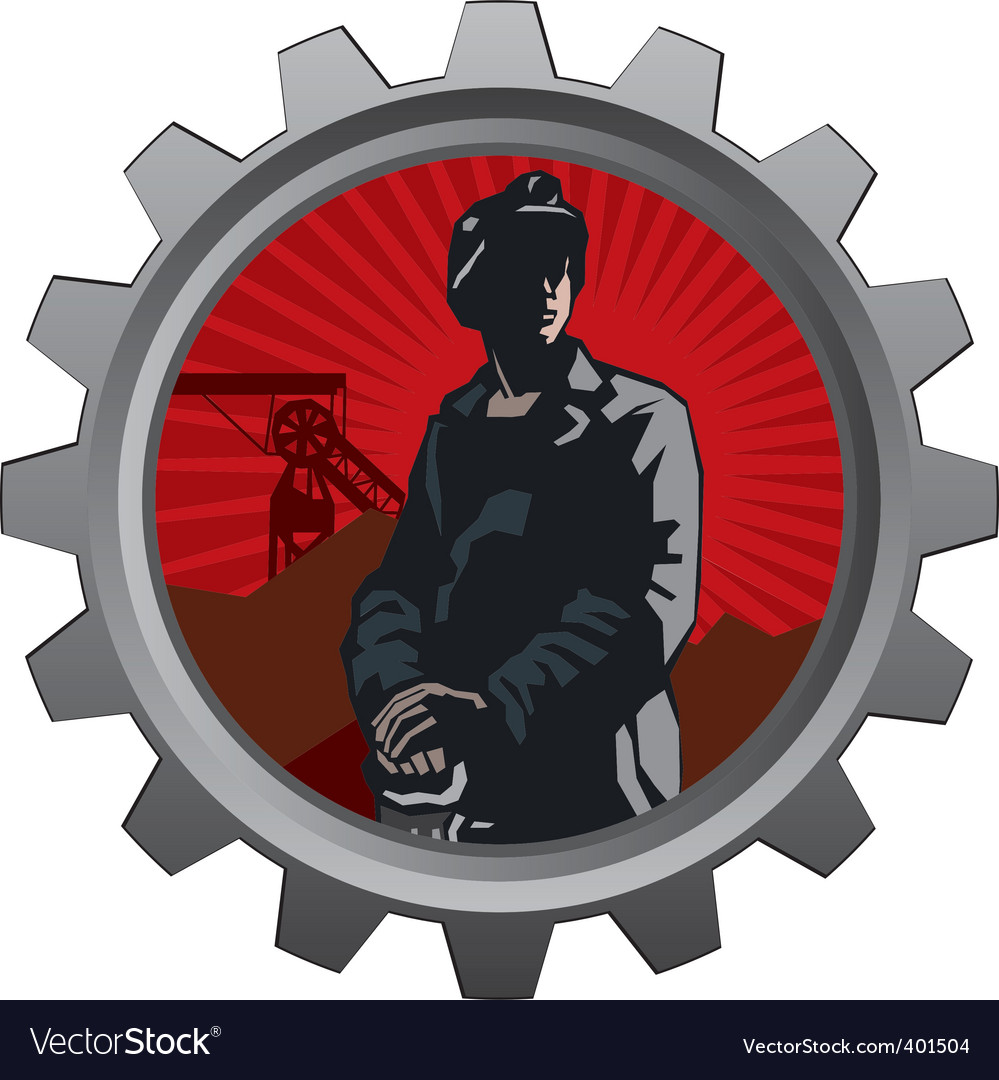 Coal miner badge vector