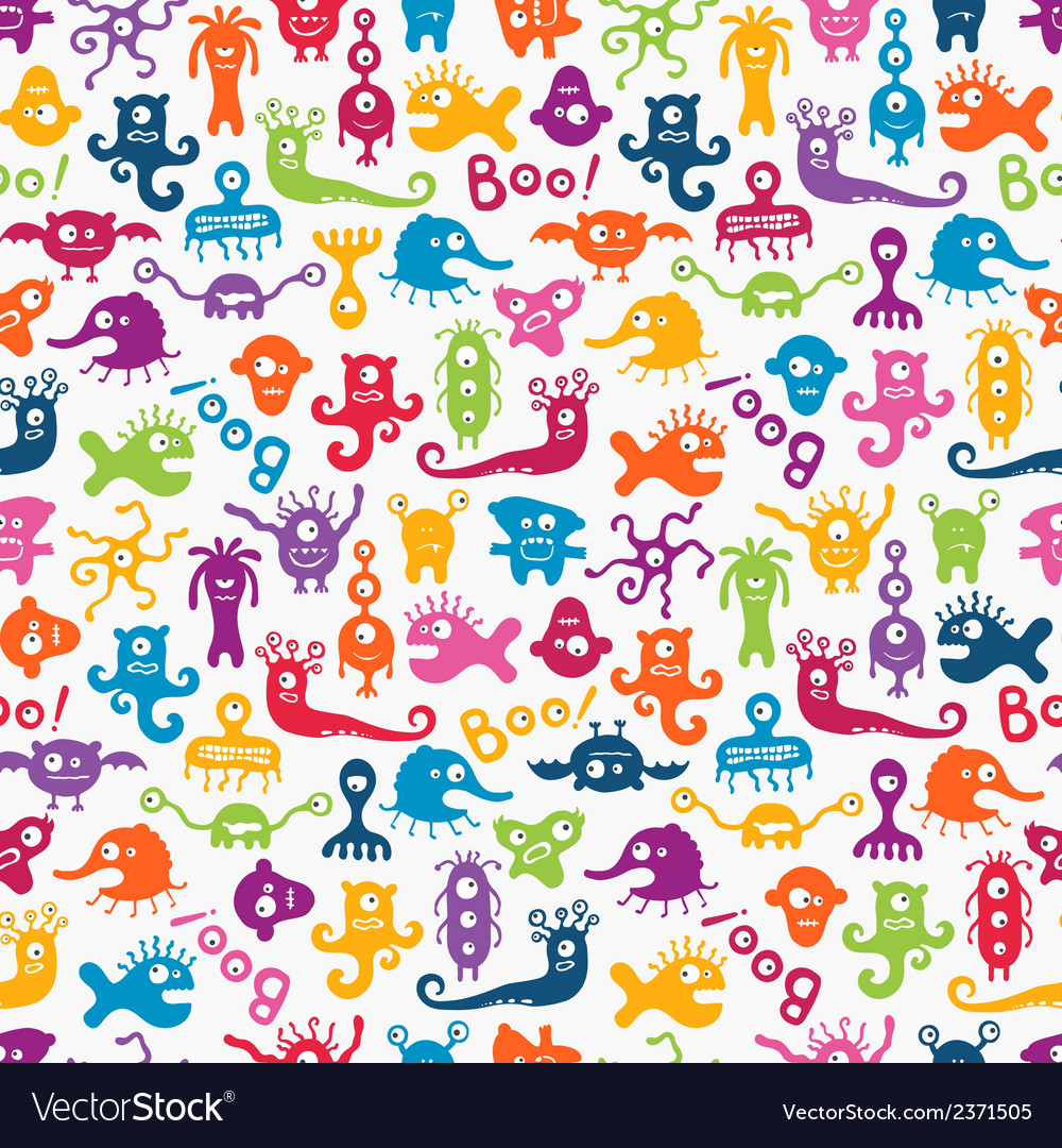 Seamless pattern with cute baby monsters vector