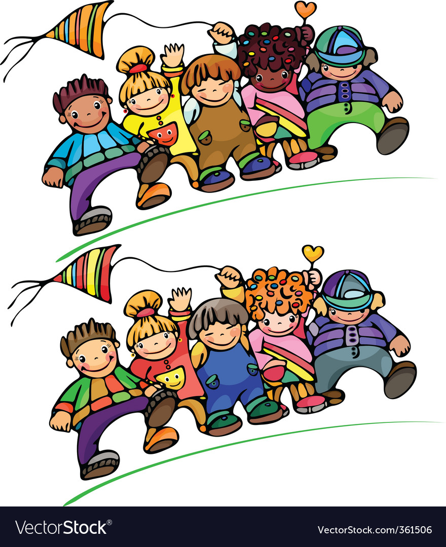 Kids different races vector