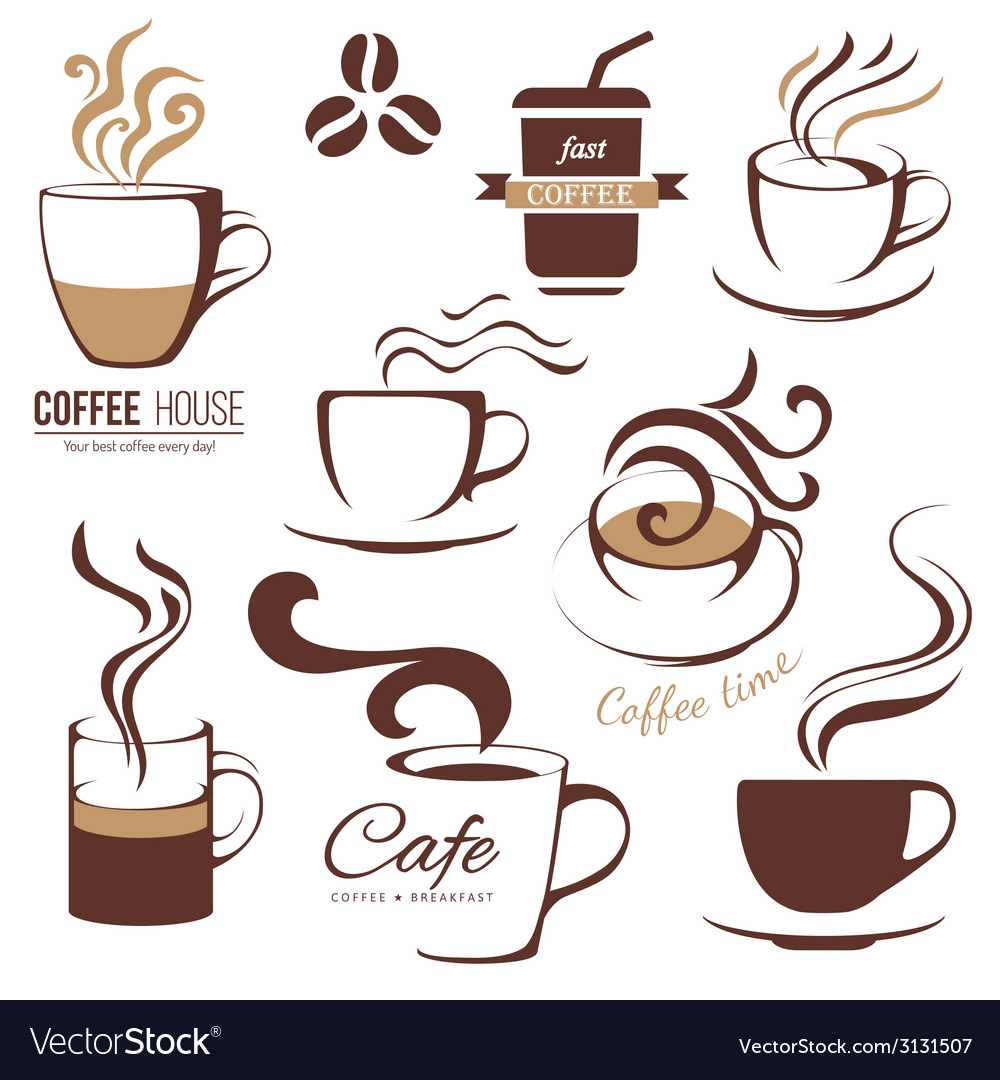 Coffee and cafe lofo templates vector