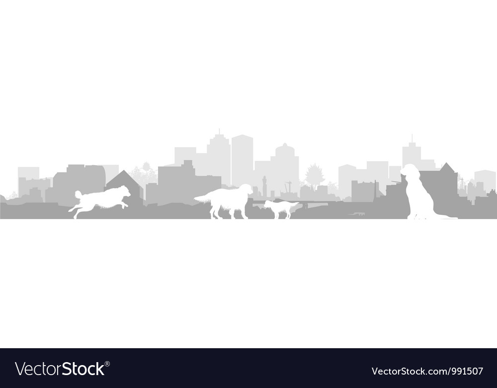 Dog cityscape background vector