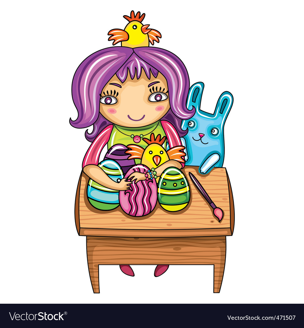 Easter kid vector