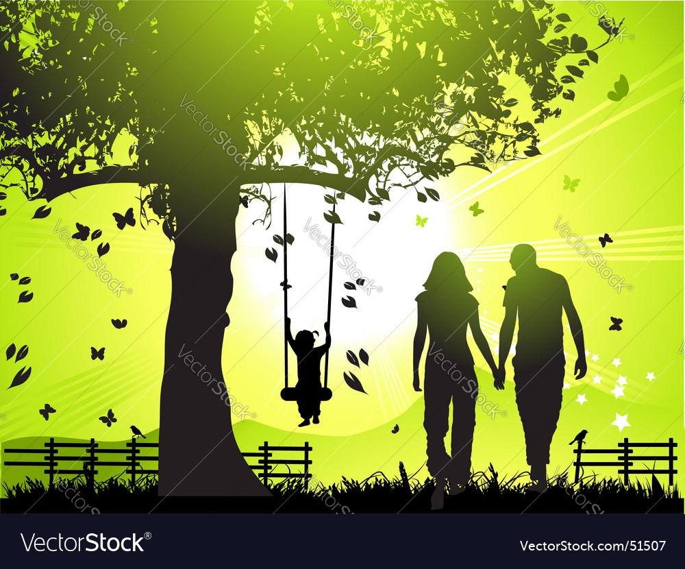 Happy family walks at sunset vector