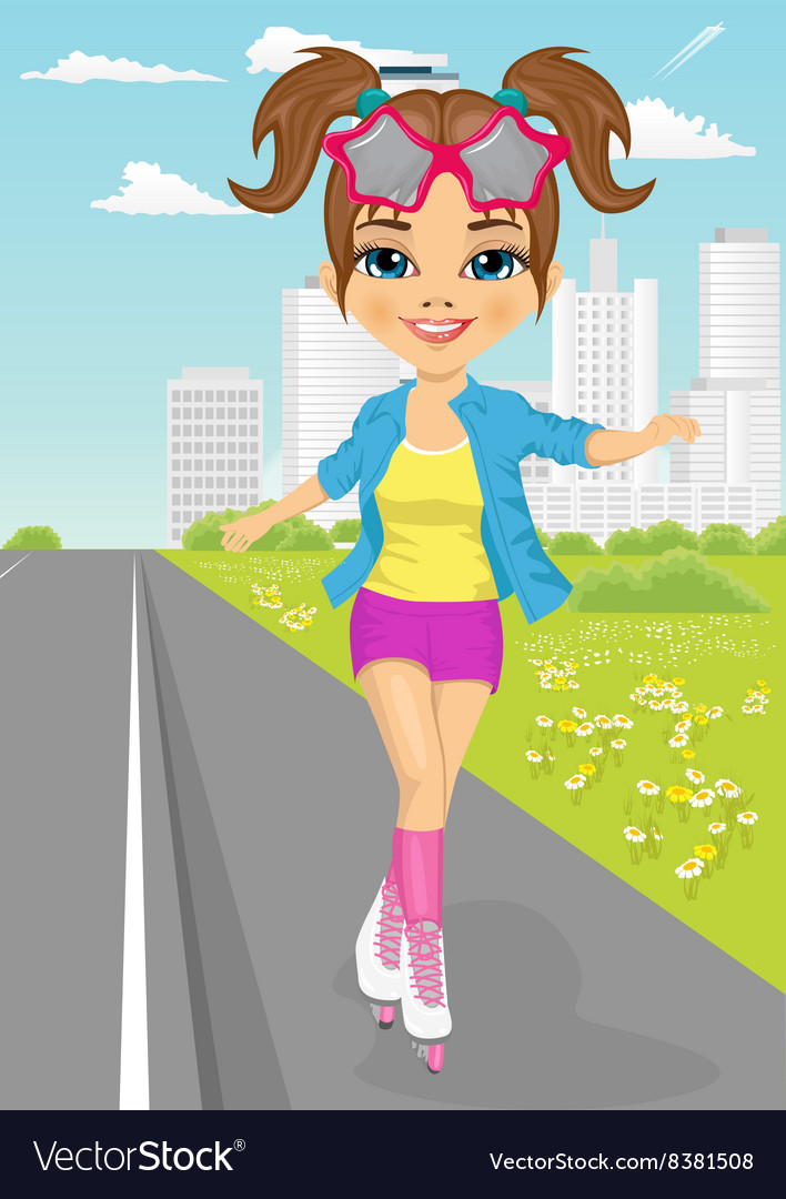 Cute girl skating on rollerblades on sidewalk vector