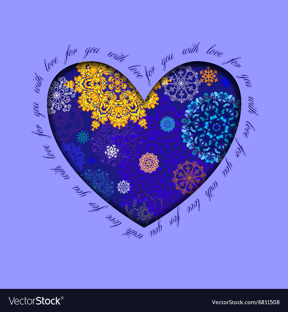 Winter heart design with golden blue snowflakes vector