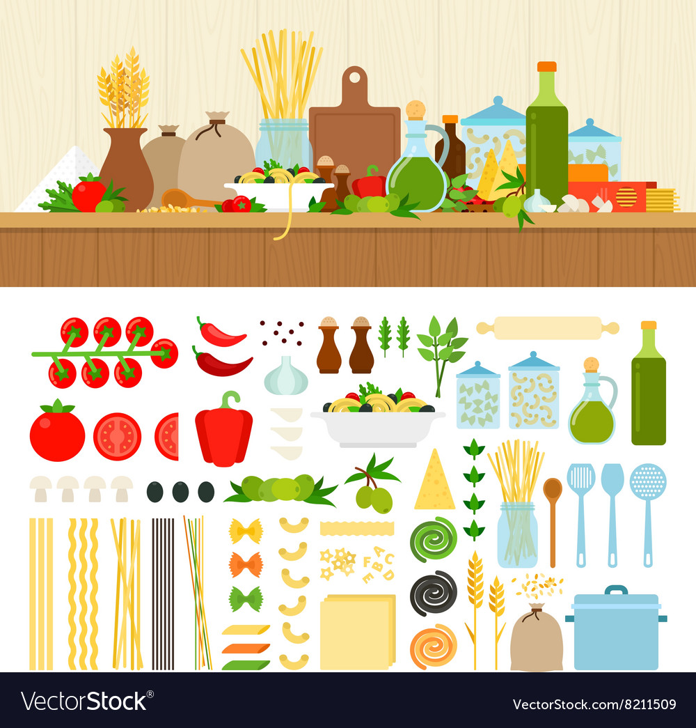 Set for cooking pasta at home vector