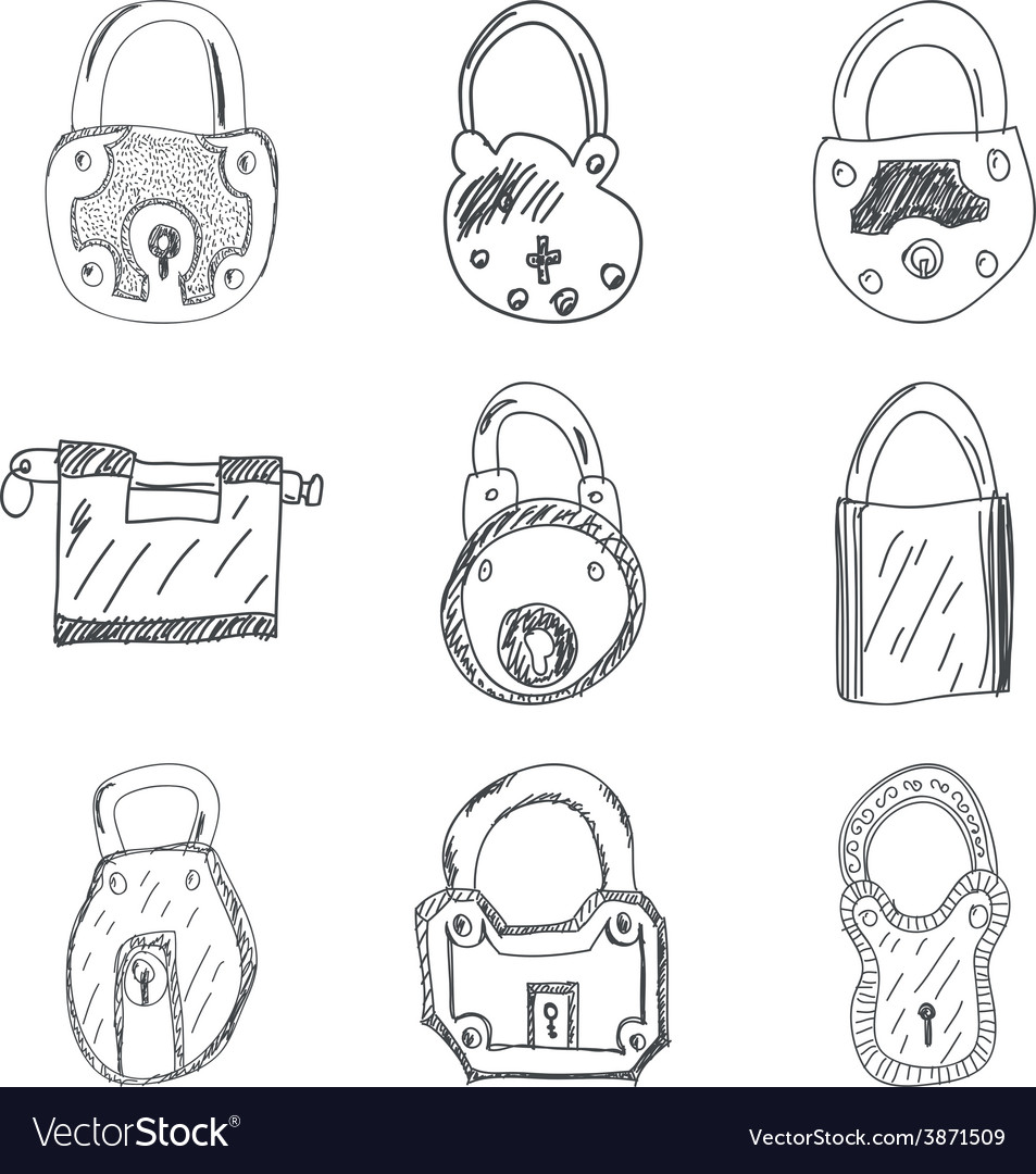 Set of nine hand drawn padlocks vector