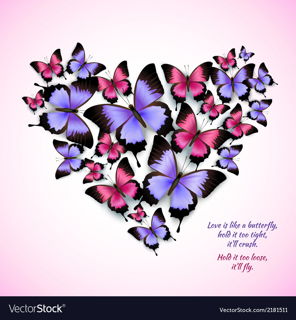 Colorful butterflies heart shape pattern vector